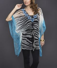 Black & Blue Jungle Beaded Cape-Sleeve Tunic