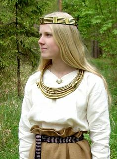 Latgallian/Latgaļu dress and jewellery from Iron Age Latvia.