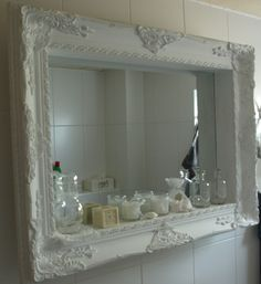 Ideas Bath Room Mirror Framed Diy Shelves For 2019 Decor, Diy Shelves, Mirror Frame Diy, Bathroom Mirror With Shelf, Chic Bathrooms, Mirror With Shelf, Frame Shelf, Bathroom Mirror Frame, Picture Frame Shelves
