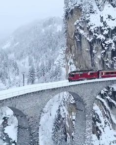 The Glacier Express through Landwasser Viaduct Switzerland . Glacier Express Switzerland, Alps Switzerland, Beautiful Places To Travel, Swiss Alps, Train Rides, Fauna, Winter Travel, Vacation Trips, Places To Go
