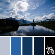 Wanderlust cool color palette inspired by the mountains... blue hues and winter color inspiration | Click for more color combinations inspired by beautiful landscapes and other coloring inspiration at https://sarahrenaeclark.com | Colour palettes, colour schemes, color therapy, mood board, color hue
