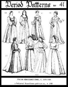 Women's Italian Renaissance Gowns Pattern
