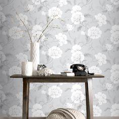 Rasch Boutique Floral Grey Wallpaper - http://godecorating.co.uk/rasch-boutique-floral-grey-wallpaper/