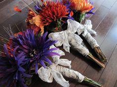 Purple and Orange Wedding Bouquets by veganbackpacker, via Flickr