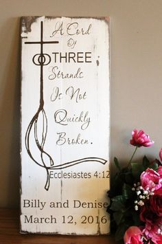 A Cord Of Three Is Not Easily Quickly Broken Wedding Sign -Personalized Rustic Wedding Gift - Wedding Ceremony Sign - Wedding Decorations