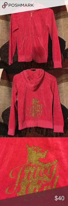 """Juciy Couture Pink Original Track Jacket Small Size 14 youth but fits Adult XS/S. Glitter """"Juicy Girl"""" design on back. Gold Zipper, great condition! Juicy Couture Tops Sweatshirts & Hoodies"""