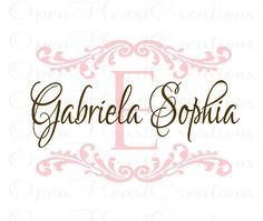 Initial and Name Vinyl Wall Decal with Shabby Chic Accents - Baby Nursery Monogram Vinyl Lettering Decal Sticker 22H x 32W FN0224. $45.00, via Etsy.