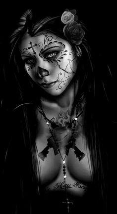 Skull Duvet Covers - Dia De Los Muertos 3 Duvet Cover by Pete Tapang Skull Girl Tattoo, Sugar Skull Tattoos, Cholo Art, Chicano Art, Tattoo Studio, Sugar Skull Girl, Sugar Skulls, Day Of Dead Tattoo, Day Of The Dead Artwork