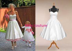 rockabilly wedding dress, simple wedding dress short, vintage wedding dress tea length, 1950's dress 50s wedding, wedding dress 1950, on Etsy, $139.00