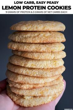 """""""If you like the Jumble Lemon Cookies, you'll love these lemon protein cookies. They're super easy to make, are super gooey and buttery, and have 9 grams of protein with just 3 net carbs each. The recipe includes two variations for both low carb and lower Healthy Treats, Healthy Desserts, Healthy Cookies, Vegan Protein Cookies, Protein Powder Cookies, Protein Cookie Recipe, Lemon Desserts, Healthy Lunches, Healthy Eating"""