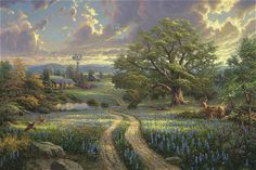 Thomas Kinkade country living painting for sale - Thomas Kinkade country living is handmade art reproduction; You can buy Thomas Kinkade country living painting on canvas or frame. Thomas Kinkade Art, Kinkade Paintings, Thomas Kincaid, Art Thomas, Country Art, Country Living, Country Life, Country Roads, Photo Chat