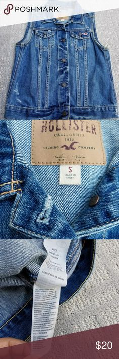 Hollister Southside destroyed blu denim jean vest Excellent condition please ask questions and refer to pictures Hollister Jackets & Coats Vests