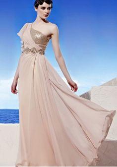 Graziöser Tencel rosa Einschulter Empire Abendkleid