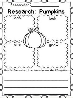 """Pumpkins """"Simple Research"""" Writing Mini Unit ~ w/ Literacy and Math printables!!! Great for 1st-2nd Grade!!!!  90 pages of leveled learning to fit the needs of your students!!!!"""