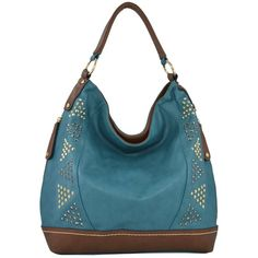 MG Collection GLORIA Blue Spike Studded Oversized Slouchy Shopper Shoulderbag