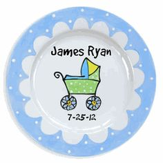 Baby Carriage Personalized Ceramic Birth Plate (Boy) (#LWC-03B)