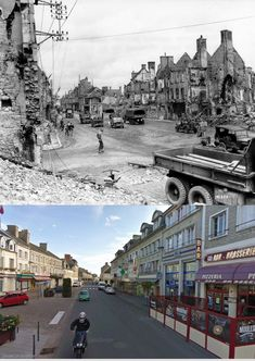 Isigny on Wed, July 4th, 1944, American convoys passing in the ruined city, place Gambetta to east left towards Bayeux, the rue Emile Demagny with the Hotel de France. Read more: http://histomil.com/viewtopic.php?f=338&t=3918&start=1420#ixzz3SjH8NEUV