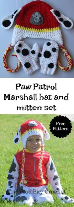 crochet Marshall Paw Patrol toddler hat and mittens set |