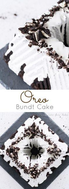 A dark, chocolate Oreo bundt cake  with a marshmallow glaze and topped with chopped Oreos. | livforcake.com