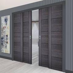 Sliding Door Panels, Sliding Door Systems, Living Room Partition Design, Room Partition Designs, Pocket Door Frame, Pocket Doors, Door Design, House Design, Flush Doors