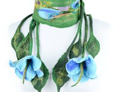 Floral nuno felt scarf in green & blue - lightweight spring and summer scarf with romantic flowers and fringe - floral women accessory Nuno Felt Scarf, Romantic Flowers, Summer Scarves, Nuno Felting, Blue Green, Women Accessories, Crochet Necklace, Unique, Floral