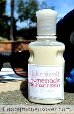 This homemade natural sunscreen is very easy to make! I have done a lot of research on DIY sunscreen and this recipe is the cheapest and works just as well as the name brand!- happymoneysaver.com