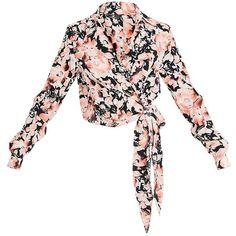 Avalyn Pink Floral Print Wrap Front Tie Side Blouse (520 ARS) ❤ liked on Polyvore featuring tops, blouses, wrap front top, side tie blouse, floral tops, flower print blouse and wrap front blouse