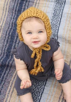 Mustard Yellow Knit Baby Bonnet, Winter Hat for Babies, Cozy Baby Hat for Fall, Chunky Knit Bonnet f Knitted Baby Clothes, Baby Hats Knitting, Cute Baby Clothes, Crochet Hats, Baby Fall Fashion, Baby Winter Hats, Chunky Babies, Outdoor Baby, Hipster Babies