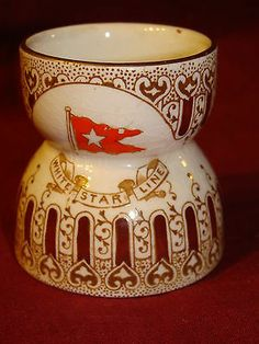Genuine White Star Line RMS Olympic Titanic Period 1st Class Egg Cup