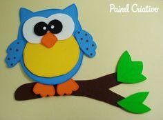 como fazer corujinha em eva artesanato decorar sala de aula cartazes paineis escola quarto festa aniversario infantil (1)