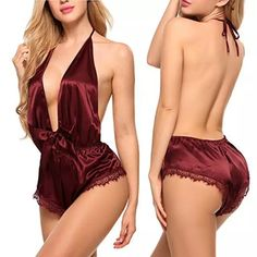 Avidlove Women Lingerie Satin Bodysuit Teddy Babydoll One Piece Halter Pajamas Deep V Jumpsuit Short Nightwear Sexy Lingerie, Lingerie Satin, Lingerie Plus Size, Lingerie Outfits, Lingerie Dress, One Piece Lingerie, Seductive Lingerie, Lingerie Accessories, Corset Dresses