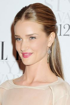 Rosie Huntington-Whiteley strikes the right balance by slicking her hair half-back (trick: pat on serum for extra shine before flat-ironing) and swiping on a petal pink lipstick thats just bright enough to draw attention without being too flashy. Wedding Hair Down, Wedding Hair And Makeup, Hair Makeup, Wedding Beauty, Makeup Pro, Bridal Beauty, Bridal Hair, Sleek Hairstyles, Down Hairstyles