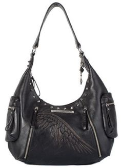 Love this one!   Harley-Davidson® Women's Leather Punk Style Hobo Bag. PK9548L-BLK-ORG