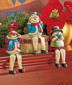 Set of 3 See Hear Speak No Evil Snowmen - Adorable decorative gift