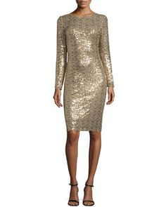 Long-Sleeve Embellished Cocktail Dress, Gold by Badgley Mischka at Neiman Marcus.