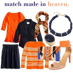 Superb Match Made In Heaven: Orange + Navy! Nice Design