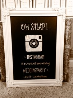 Have guests snap pictures and hashtag them. Then later make an album of all the pictures that the guests took to remember your big day! Best Friend Wedding, Wedding Wishes, Diy Wedding, Dream Wedding, Wedding Day, Wedding Photos, Chalkboard Wedding, Wedding Signage, Chalkboard Signs