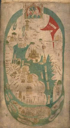 Evesham World Map (c1400) - North is to the left. Garden of Eden is at the top. Jerusalem is the large city roughly in the center.