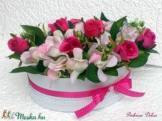 Hortenzia/rózsa virágbox ovális  (KÉSZTERMÉK) (pinkrose) - Meska.hu