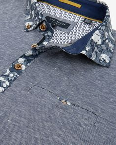 Floral print collar polo shirt - Navy | Tops & T-shirts | Ted Baker ROW
