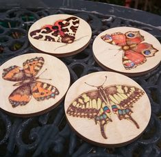 Items similar to Butterfly Coasters - Wood-burning Pyrography Painted Designs - singles or set - wedding or housewarming gift - new home - Mothers Day gift on Etsy Wood Burning Patterns, Wood Burning Art, Orange Butterfly, Butterfly Dragon, Monarch Butterfly, Coaster Design, Butterfly Pictures, Painting On Wood, Wood Paintings