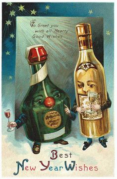 "With the new year on approach, these vintage ""HAPPY NEW YEAR"" postcard images deserve a second look. Party on, vintage people."