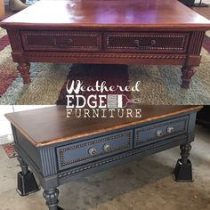 Coffee Table Makeover by Weathered Edge Furniture Refurbished Furniture, Upcycled Furniture, Furniture Projects, Furniture Makeover, Painted Furniture, Diy Furniture, Coffee Table Makeover, Coffee Table With Drawers, Antique Coffee Tables