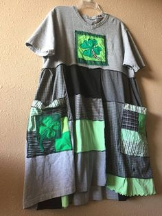 Upcycled Loose Fit Artsy Patchwork T-Shirt Dress Handmade wearable Art St Patricks Day Lucky Shamrock Tunic 2 Big Applique Pockets Artsy Applique 4 leaf clovers Various Greens Grays and Black Easy Comfortable fitting I think this is Cute to wear to the casino! This could be your