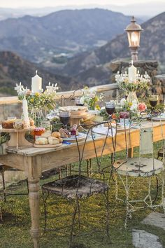 beautiful table overlooking the mountains