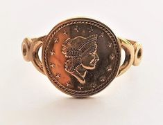 Vintage Ladies Liberty Coin Style Signet Ring in 9 ct Yellow Gold FREE POSTAGE Included by GloryBeVintageWares on Etsy