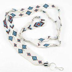 Native American Beaded Lanyard Instructions   Beaded ID Badge Holder Lanyard beautifully handmade with Cz Seed Beads ...
