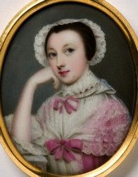 Miniature portrait of an unknown Lady painted by the artist Gervase Spencer 1715?-1763 painter based in London  Click for more information
