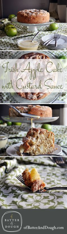 Irish Apple Cake. Crispy apples are enveloped in soft, tender cake with a crunchy sugar topping and drizzle of rich, vanilla custard sauce.