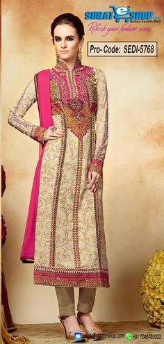 Authentic Elegance Comes Out As A Results Of The Dressing Style With This Cream Chiffon Salwar Kameez. The Ethnic Bead, Block Print, Lace, Stones Work To Your Attire Adds A Sign Of Splendor Statement For The Look. Paired With A Contrast Beige Crepe Silk Bottom Comes With A Contrast Pink Crepe Silk Dupatta  Visit: http://surateshop.com/product-details.php?cid=2_27_63&pid=8077&mid=0